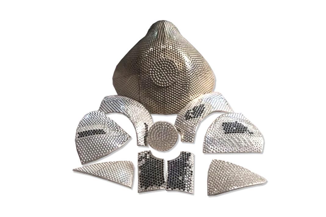 A coronavirus mask of gold and diamonds